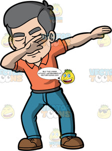 Bob Dabbing. A mature man wearing blue jeans, an orange shirt, and brown shoes, holding his one hand up at his face and the other our to the side as he does the dab