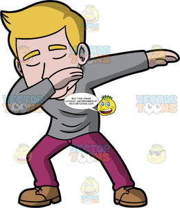 Matthew Dancing The Dab. A man with dirty blonde hair wearing purple pants, a long sleeve gray shirt, and brown shoes, holding one hand up at his face and the other out to the side while doing the dab