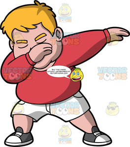 Sam Doing The Dab. A chubby man wearing white shorts, a red sweatshirt, and gray and white sneakers, holding one hand up at his face and the other extended out to the side as he does the dab