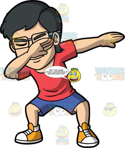 Simon Dabbing. An Asian man wearing blue shorts, a red t-shirt, and yellow and white sneakers, holding one hand up at his face and the other extended out to the side as he does the dab