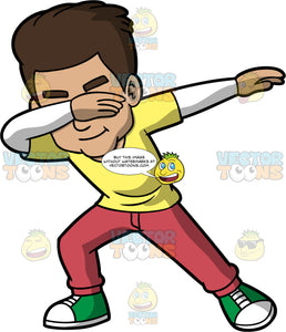 Gabriel Doing The Dab. A Hispanic man wearing wine coloured pants, a yellow t-shirt over a long sleeve white shirt, and green and white sneakers, holding his one hand up at his face and the other one out to the side while doing the dab