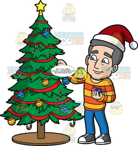 Bob Putting Ornaments On A Christmas Tree. A mature man wearing blue pants, an orange and yellow striped sweater, gray and white sneakers, and a Santa hat, placing a pink and white ornament on a Christmas tree