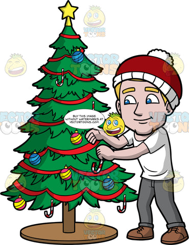 Matthew Putting Decorations On A Christmas Tree. A man with dark blonde hair, wearing a white t-shirt, gray pants, brown shoes, and a red and white hat, putting a candy cane on a Christmas tree