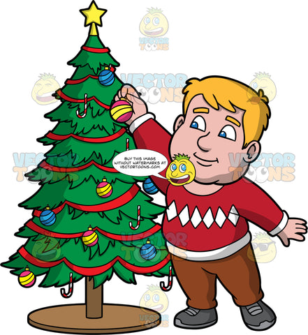 Sam Decorating A Christmas Tree. A chubby man wearing brown pants, a red and white sweater, and gray shoes, reaching up to place a Christmas ornament on a Christmas tree