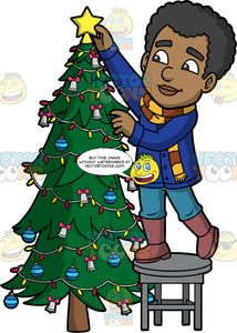 Jimmy Placing A Star On Top Of A Christmas Tree. A black man wearing jeans, a blue jacket, a brown and yellow striped scarf, and brown boots, standing on a stool and putting a gold star on top of the Christmas tree