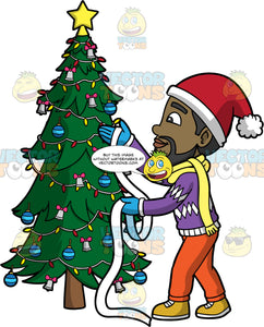 Calvin Putting Ribbon On A Christmas Tree. A black man wearing orange pants, a purple and white sweater, blue gloves, a yellow scarf, and a Santa hat, getting ready to wrap some white ribbon around a Christmas tree