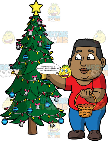 James Putting Bell Ornaments On A Christmas Tree. A black man wearing blue pants, a red t-shirt, and dark brown shoes, holding a basket and putting small bell ornaments on a Christmas tree