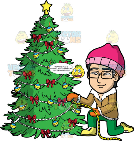 Simon Trimming A Christmas Tree. An Asian man wearing green pants, orange mittens, a brown coat, pink hat, yellow shoes, and eyeglasses, kneeling down and wrapping decorative pearls around a Christmas tree