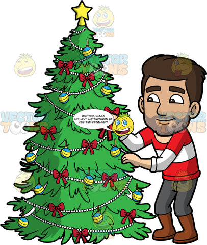 Gabriel Putting Ribbons On A Christmas Tree. A Hispanic man wearing gray pants, a red and white striped sweater, and brown boots, placing red ribbons on a Christmas tree