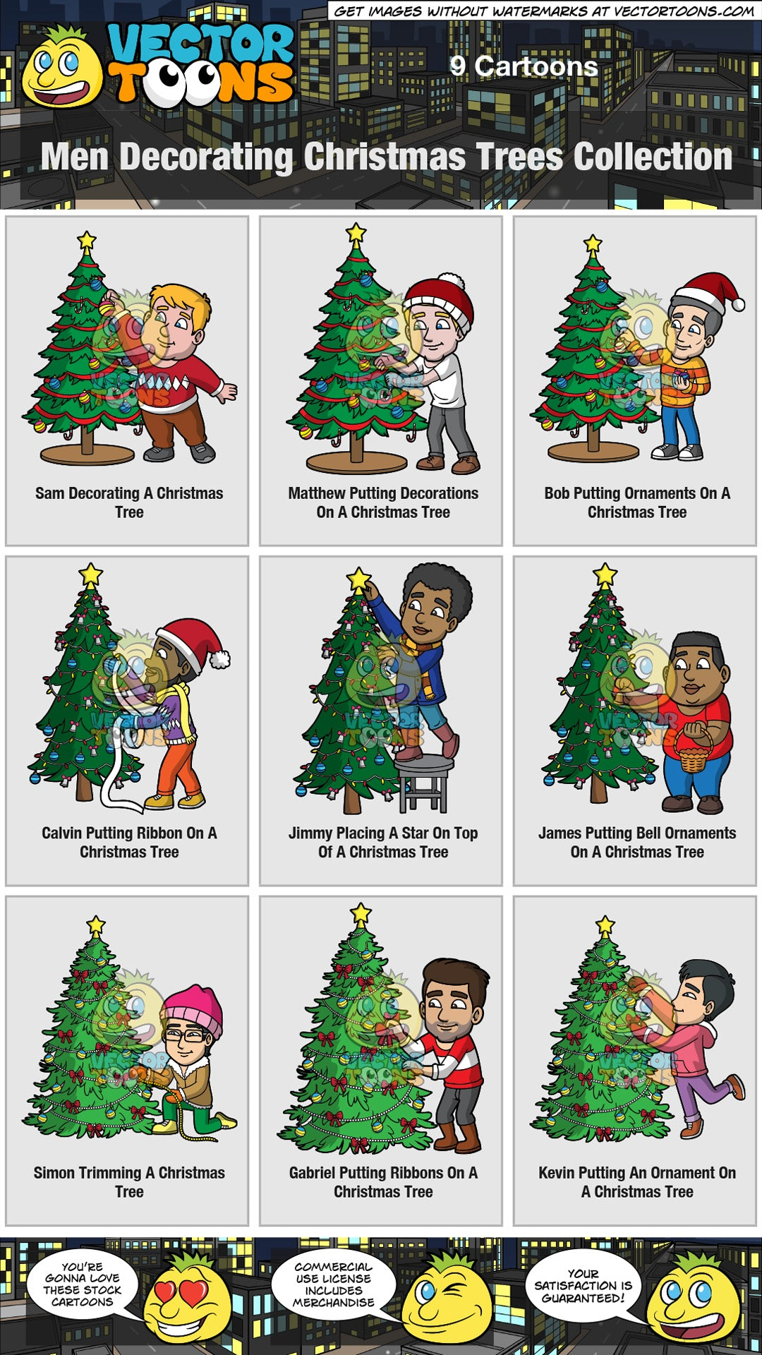 Men Decorating Christmas Trees Collection