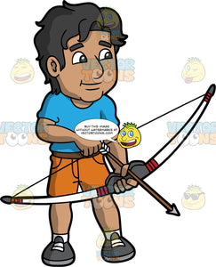 An Indian man holding a bow and arrow in his hands. An Indian man wearing orange shorts, a blue shirt, and gray shoes, stands and holds a bow and arrow in his hands