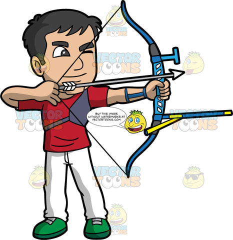A male archer aiming his bow and arrow at a target. A man with dark hair and eyes, wearing white pants, a red shirt, and green shoes, holding a modern archery bow in his hands and aiming the arrow at a target