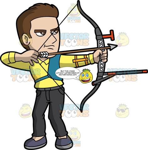A serious man aiming his bow and arrow at a target. A man with brown hair and brown eyes, wearing black pants, a yellow shirt, and dark blue shoes, holding a modern archery bow in his hands and aiming the arrow at a target