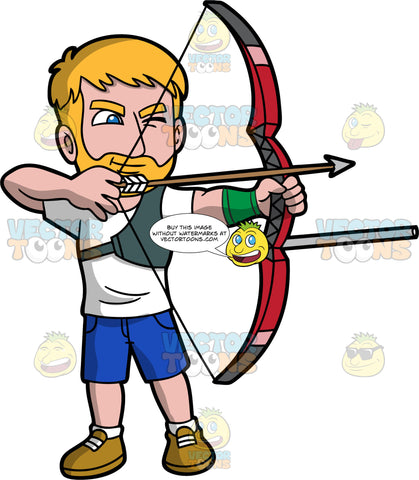 A male archer aiming his bow and arrow at something. A man with dark blond hair, a beard and blue eyes, wearing blue shorts, a white T-shirt, and brown shoes holds up a modern bow in his hands and aims the arrow at a target