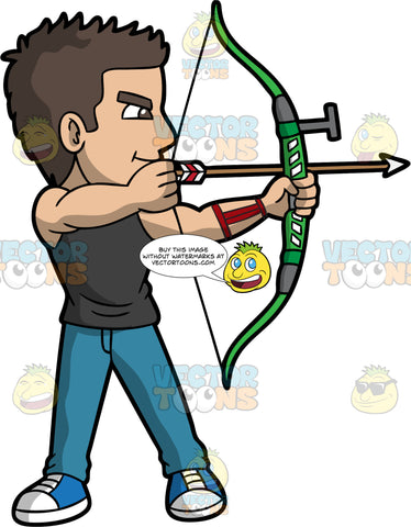 A muscular male archer. A man with brown hair and brown eyes, wearing blue jeans, a black shirt and blue shoes, holds a green bow in his hands with an arrow pulled back, aiming for a target