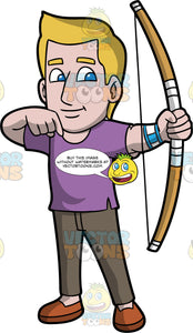 A male archer letting go of the string on his bow. A man with dark blond hair and blue eyes, wearing a purple shirt, gray pants and brown shoes, holds a wooden bow in one hand has he lets go of the string with the other