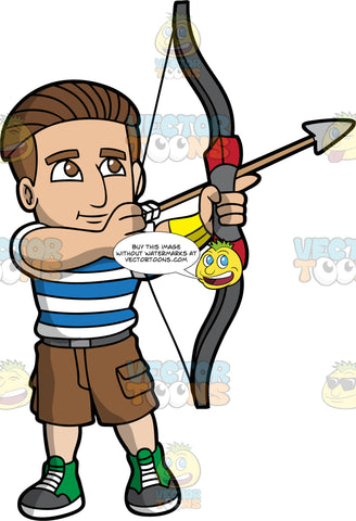 A man loading an arrow into his archery bow. A man with brown hair and eyes, wearing brown shorts, a blue and white striped T-shirt, and green high top shoes, carefully loads an arrow into his archery bow