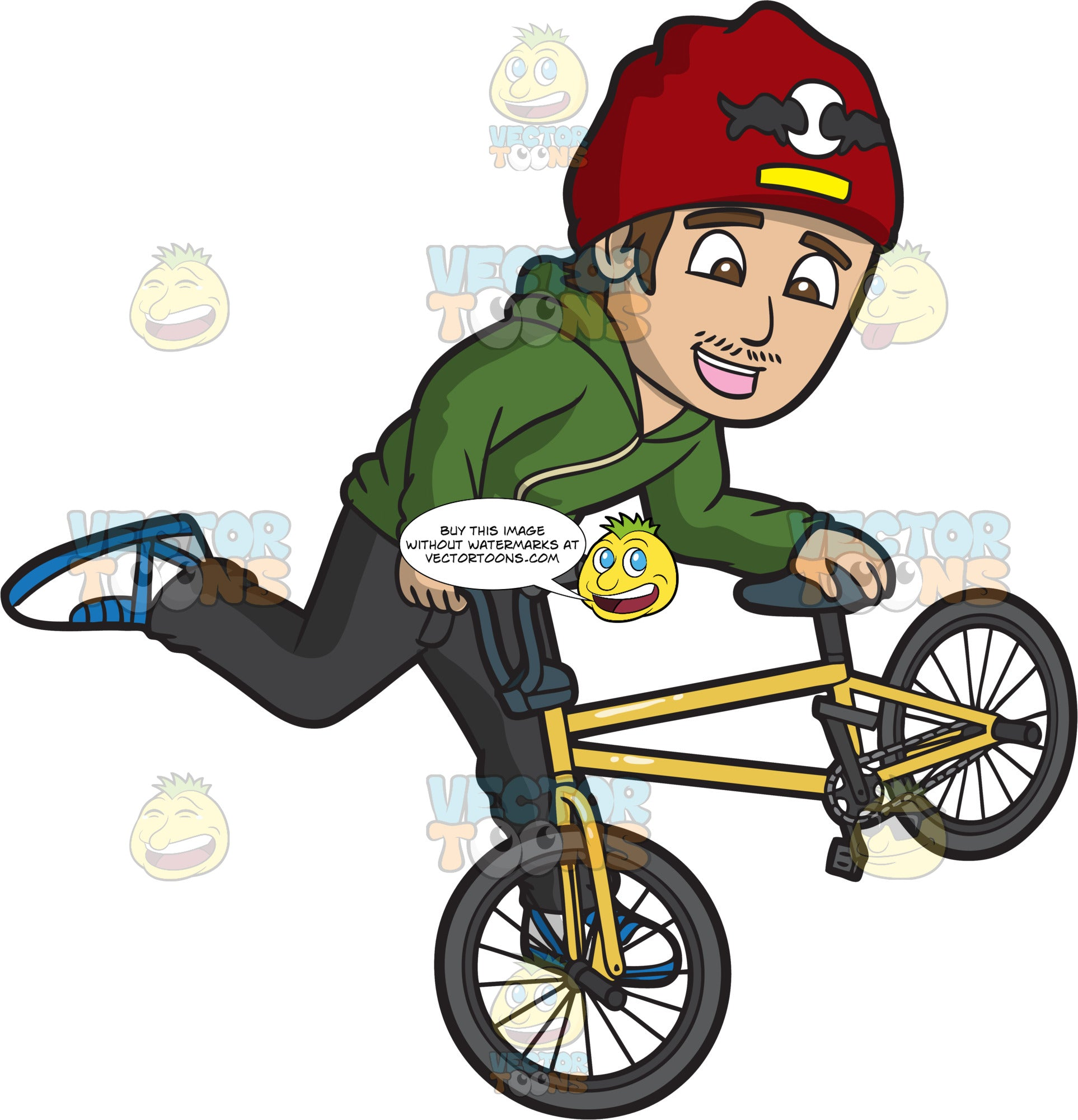 A Cheerful Guy Doing A Steamroller Bmx Trick