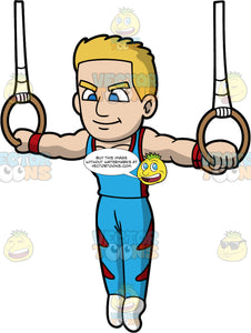 A Male Gymnast Focused On His Rings Routine. A male gymnast with blonde hair, wearing a tight blue with red tan top, pants, white socks, red wristbands, smirks while lifting himself while holding into the two rings with white straps