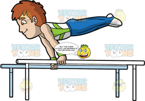 A Male Gymnast Balancing On Parallel Bars. A man with brown hair, wearing a white with green tank top, green wristbands, blue pants that extends to his feet that is covered in white socks, smiles while lifting himself horizontally by balancing on the white parallel bars