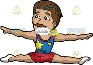 A Male Gymnast Doing A Floor Routine. A male gymnast with dark brown hair, mustache, wearing a blue and red tank top with two gold stars printed in front, red shorts, white socks, smiles while stretching his arms and legs sideways as he jumps during his floor routine