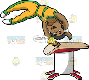 A Black Male Gymnast Dismounting From The Vault. A black male gymnast with curly hair, wearing a yellow and green tank top, pants, white socks, turns over upside down and shoots himself up to land on the floor after doing his vault routine