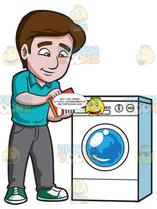 A Man Adding Some Detergent Powder Into The Washing Machine Soap Inlet