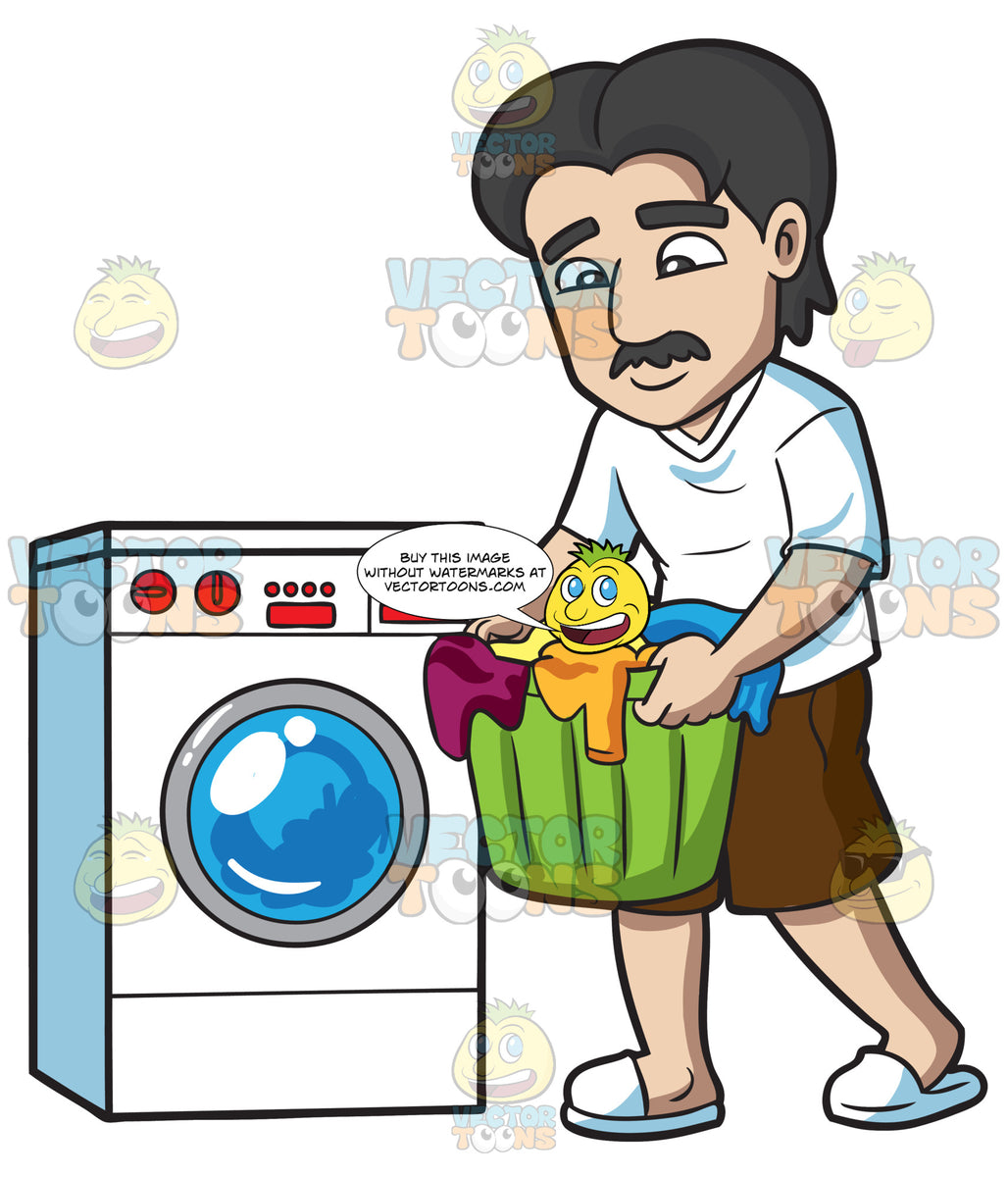 A Man Carrying Clothes For Laundry – Clipart Cartoons By ...