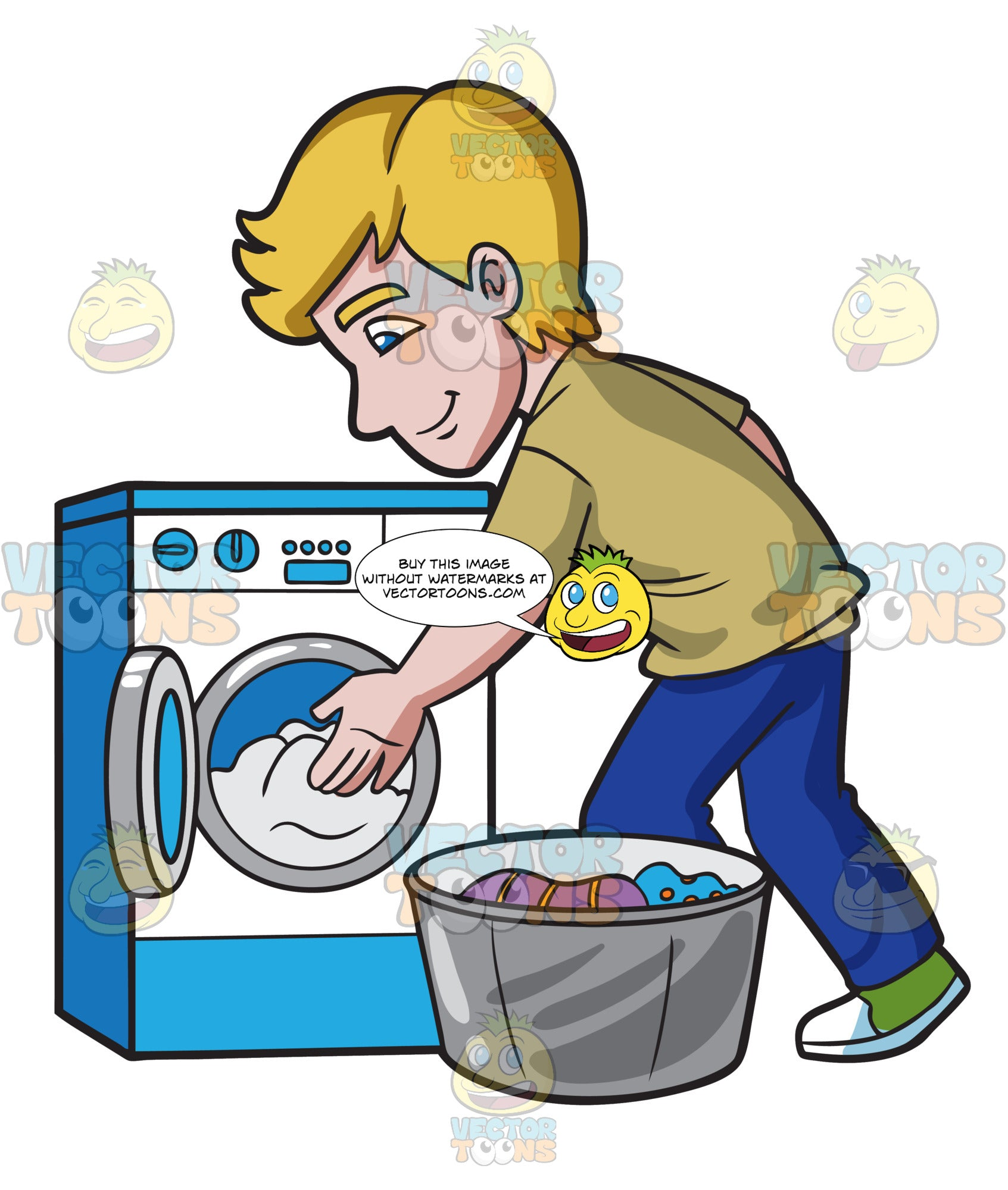 A Man Places The Clothes In The Washing Machine Clipart