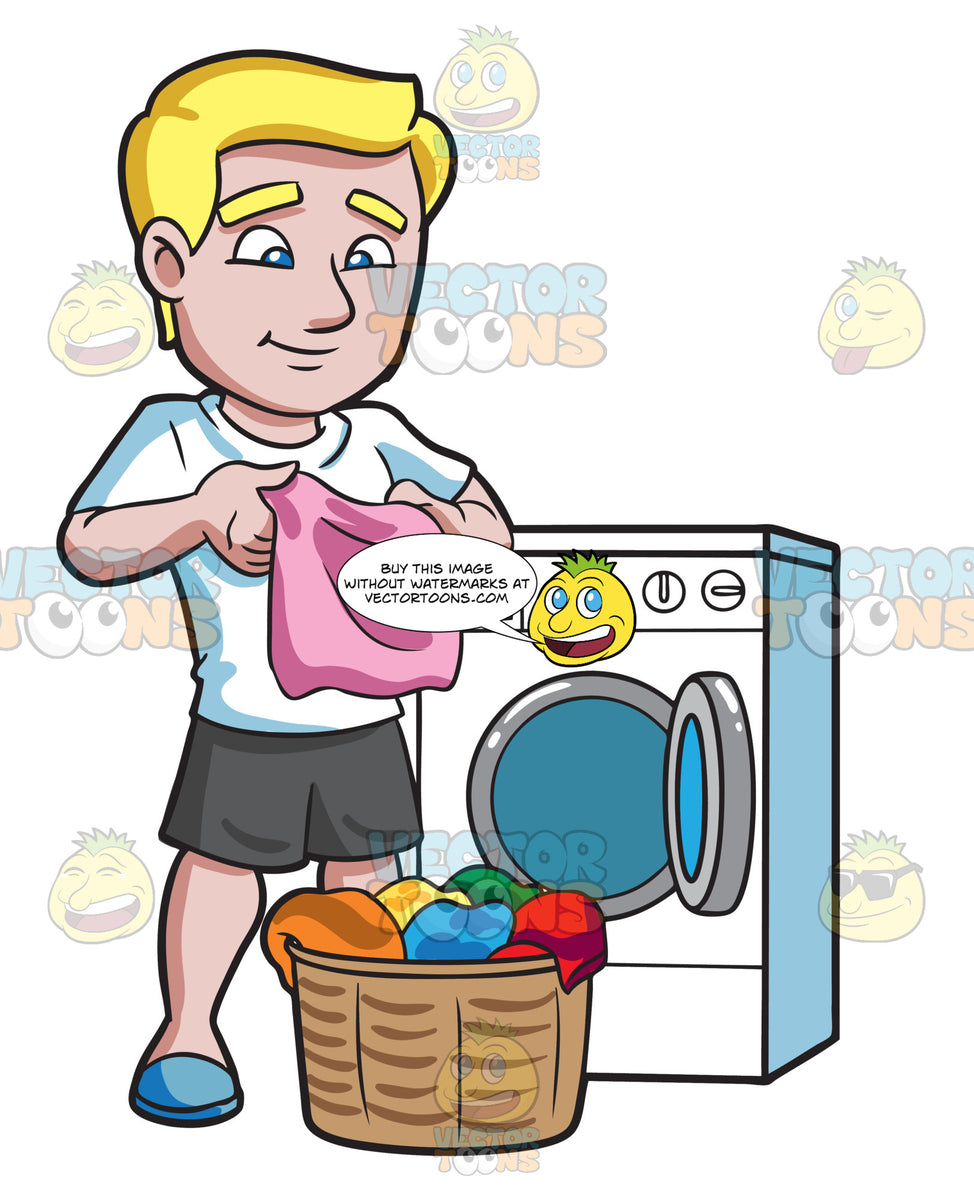 A Man Folding Clothes After Laundry Clipart Cartoons By
