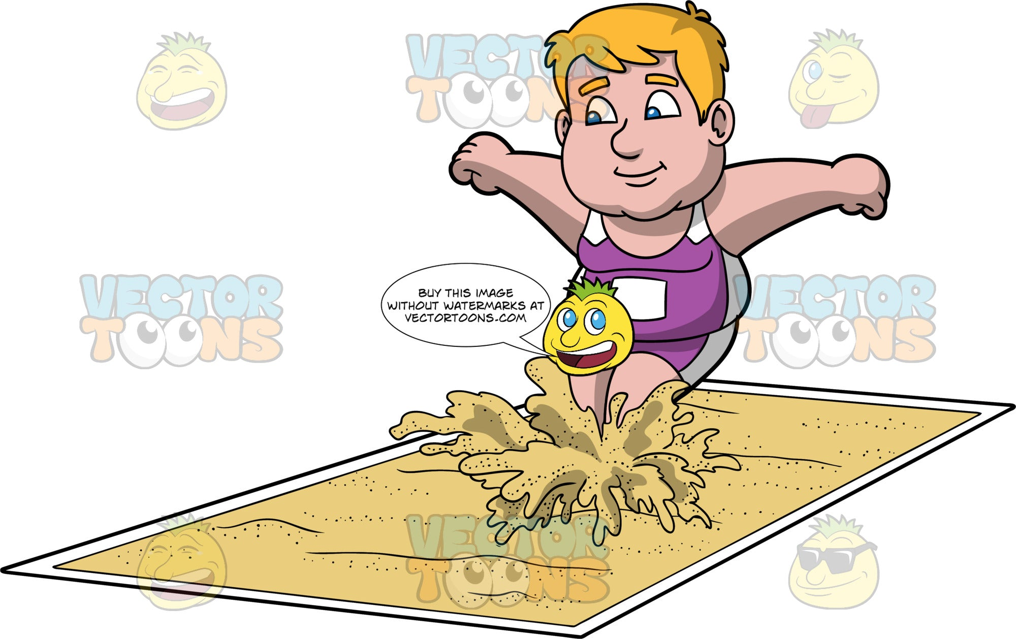 Sam Landing In The Long Jump Pit. A chubby man wearing purple and white shorts, and a purple and white tank top, lands feet first in a pit of sand during a long jump contest