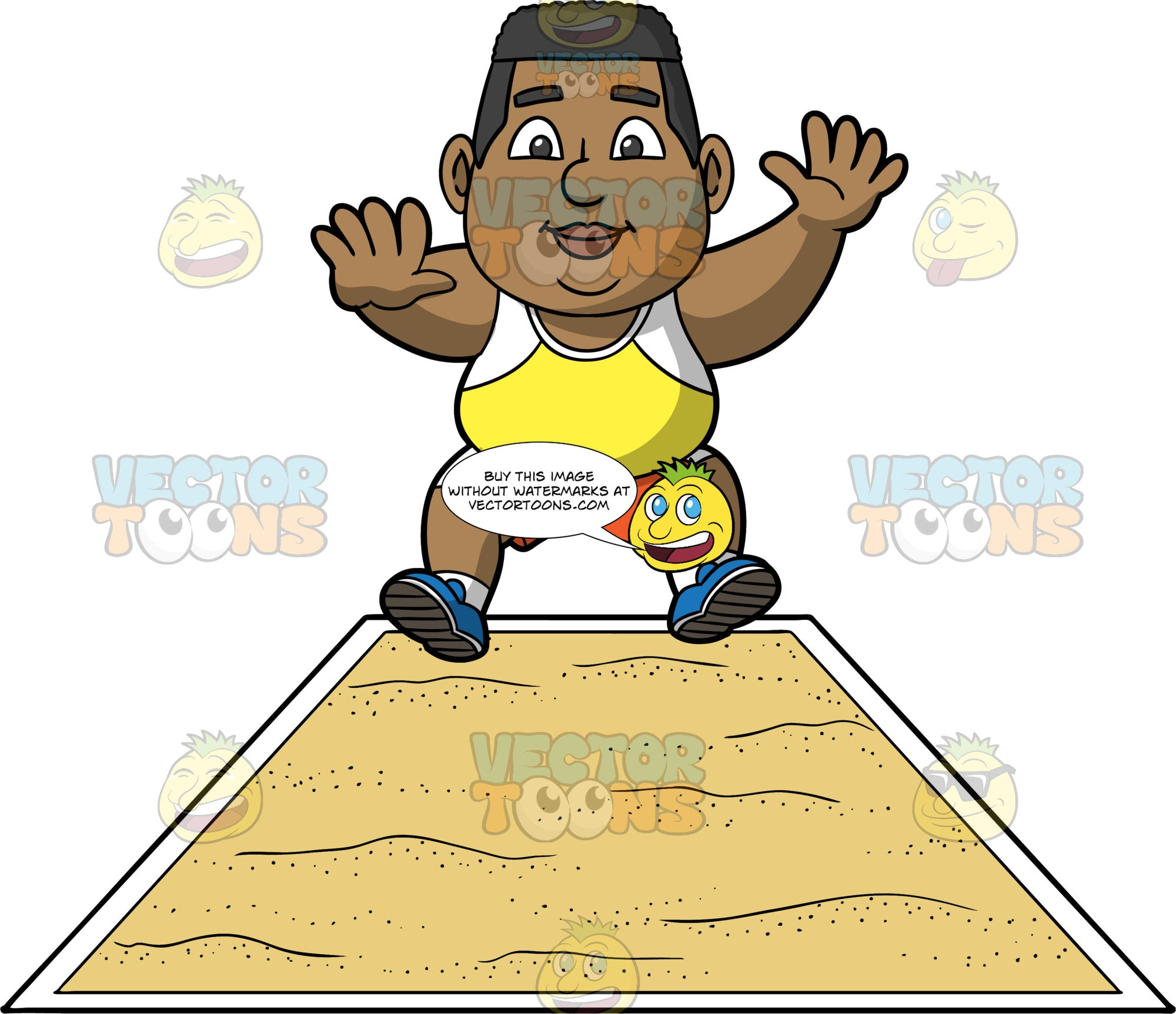 James Preparing To Land In The Long Jump Pit. A chubby black man wearing orange shorts, a yellow and white tank top, and blue running shoes, prepares to land in the long jump pit during a competition