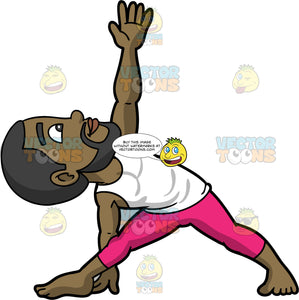 Calvin Doing Extended Triangle Yoga Pose. A black man with a beard, wearing hot pink yoga pants, and a white tank top, stretching his legs apart, and reaching his one hand down to the ground, while his other arm reaches up towards the sky, and he is looking up towards it