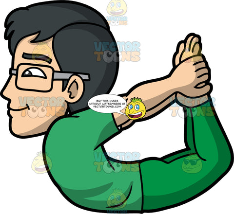 Simon Doing Bow Yoga Pose. An Asian man with eyeglasses, wearing green yoga pants, and a green t-shirt, reaching back and grabbing his feet with his hands as he lifts his thighs and chest off the ground to do bow yoga pose