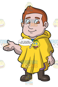 A Chubby Man Wearing A Waterproof Poncho