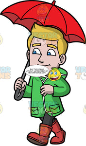Matthew Walking In The Rain. A man with dirty blonde hair, wearing black pants, rain boots, and a green raincoat, holding a red umbrella over his head as he goes for a walk