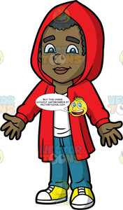 Jimmy Wearing A Red Raincoat. A black man wearing blue jeans, a white shirt, yellow sneakers, and a bright red raincoat with the hood covering his head, standing with his arms out at his sides