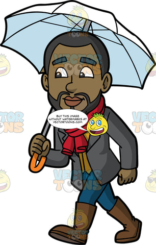 Calving Walking On A Rainy Day. A black man with a beard, wearing blue jeans, a dark gray blazer, a red scarf, and brown rain boots, holding a white umbrella over his head as he goes for a walk in the rain