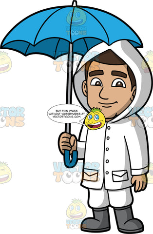 Gabriel Standing Underneath A Blue Umbrella. A Hispanic man wearing white pants, a white raincoat with a hood, and gray rain boots, standing and holding a blue umbrella over his head to protect him from the rain