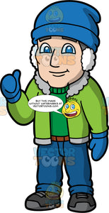 Bob Wearing Winter Clothing. A mature man wearing blue pants, a green sweater, a green winter jacket, blue gloves, a blue hat, white ear muffs, and dark gray winter boots, standing and giving the thumbs up