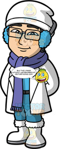 Simon Ready For A Walk On A Winter Day. An Asian man wearing blue pants, a blue sweater, a white winter coat, white winter boots, a purple scarf, blue ear muffs, a white hat, and eyeglasses, standing with his hands behind his back