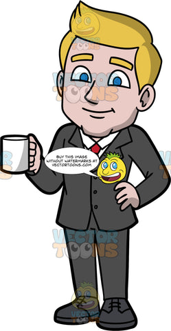 Matthew Holding A Cup Of Coffee. A businessman with dark blonde hair, wearing a dark gray suit, a white shirt, a red tie, and dark gray shoes, standing with one hand on his hip and the other hand holding a cup of coffee