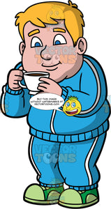 Sam Smelling A Freshly Brewed Cup Of Coffee. A chubby man wearing a blue workout outfit and green running shoes, holding a cup of coffee in his hands and smelling it before taking a sip