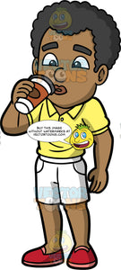 Jimmy Drinking A Freshly Brewed Cup Of Coffee. A black man wearing white shorts, a yellow shirt, and red slip on shoes, drinking coffee from a paper takeaway cup