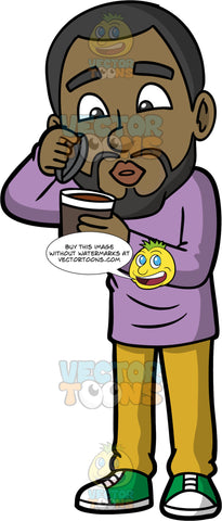 Calvin Blowing On A Hot Cup Of Coffee. A black man wearing mustard yellow pants, a long sleeve lavender shirt, and green and white sneakers, holding a paper coffee cup in his hand, and lifting the lid so he can blow on the coffee to cool it off