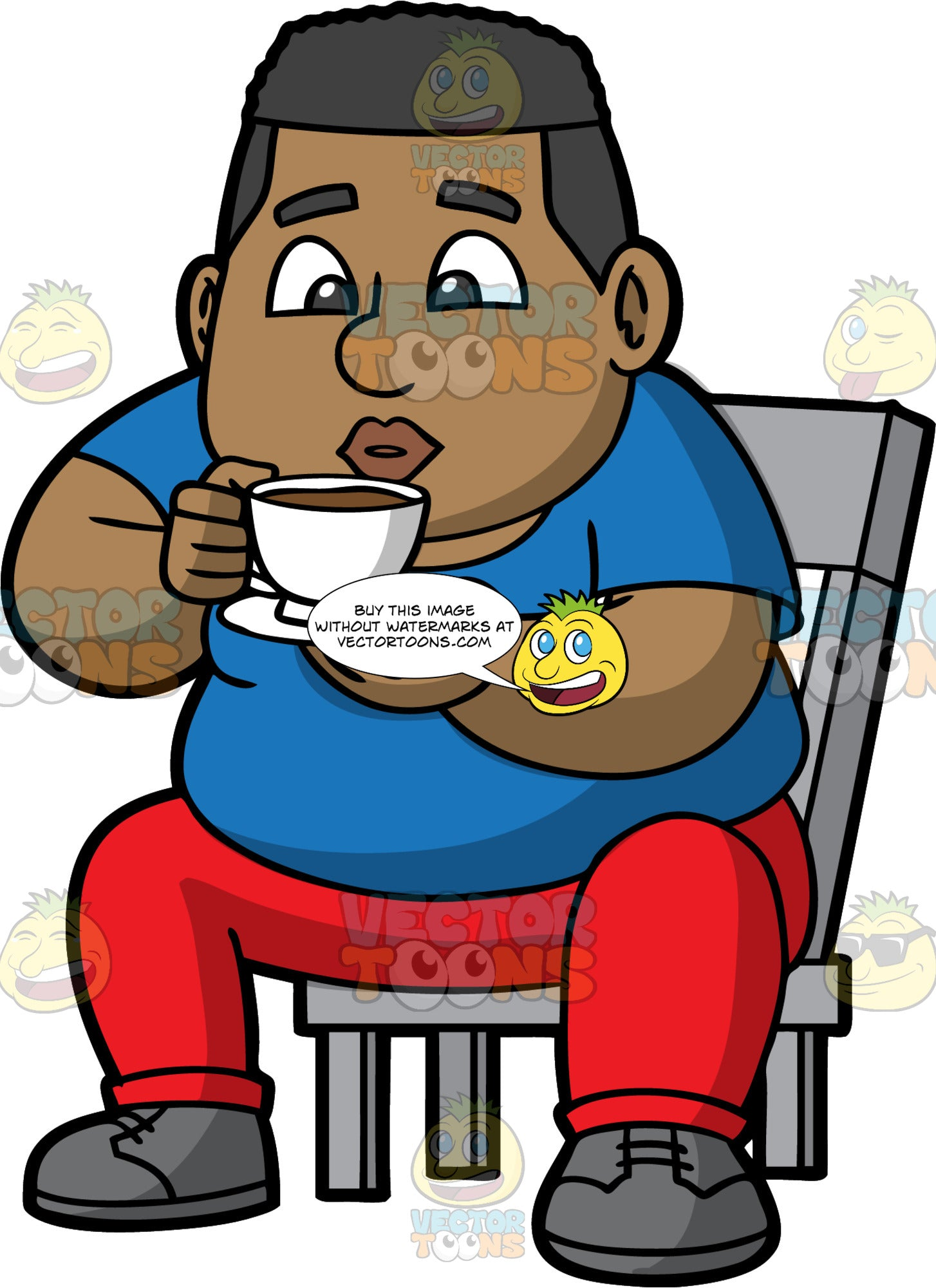 James Drinking A Hot Cup Of Coffee. A black man wearing red pants, a blue t-shirt, and gray shoes, sitting on a chair and drinking coffee from a white coffee cup