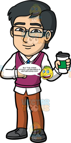 Simon Holding A To Go Cup Of Coffee. An Asian man wearing brown pants, a plum colored vest over a white dress shirt, a blue tie, dark gray shoes, and eyeglasses, standing and holding a paper coffee cup in his hand