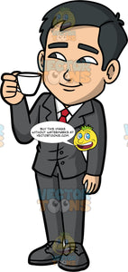 Kevin Drinking A Cup Of Espresso. An Asian businessman wearing a dark gray suit, white shirt, red tie, and dark gray shoes, standing and holding a cup of espresso coffee