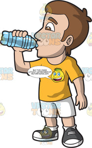 A Thirsty Man Drinking A Bottle Of Water