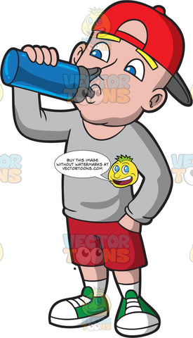 A Man Drinks Water From A Container